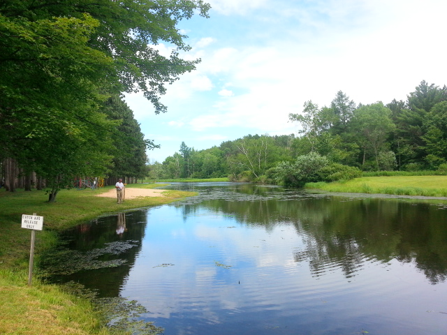 Fishing pond at Yukon Trails in Lyndon Station, WI.