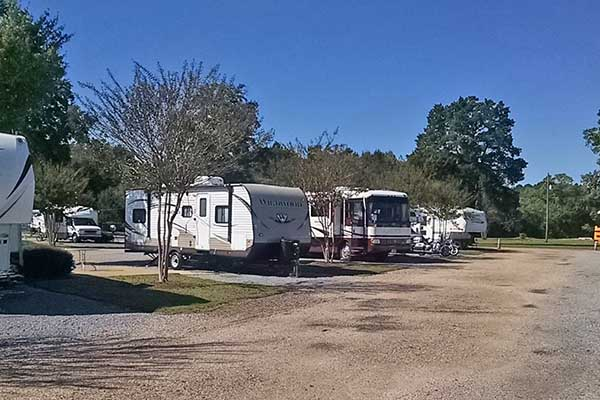 A view from the front of our row at Capital City RV Park in Mongtomery AL