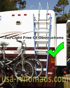 An RV step ladder hung appropriately.