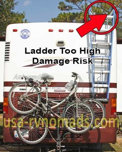 An RV step ladder hung too high is dangerous.
