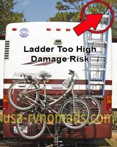 An RV step ladder hung too high is dangerous.