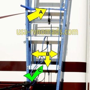 Secure your RV step ladder with bungee cords.