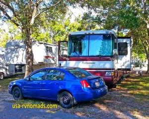 Sites are close together at Vacation Village RV Resort Largo.
