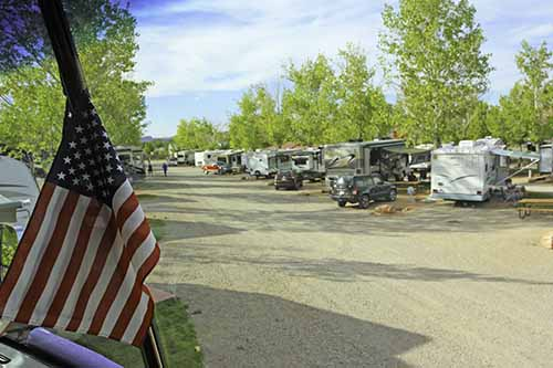 A daytime view of Spanish Trail RV Park in Moab, Utah.