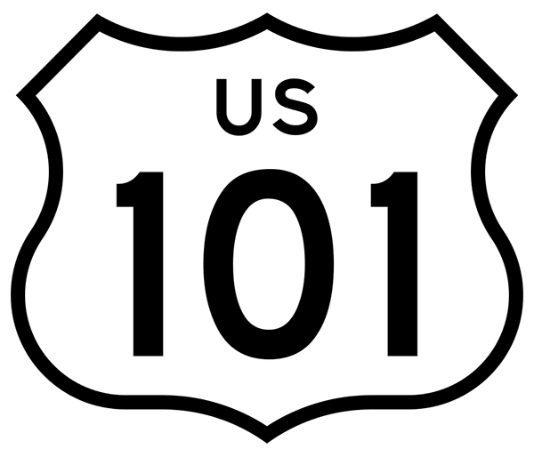 US 101 highway sign.