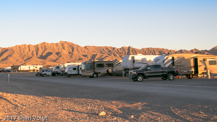 RV's parked for the night at El Paso West - Anthony KOA.
