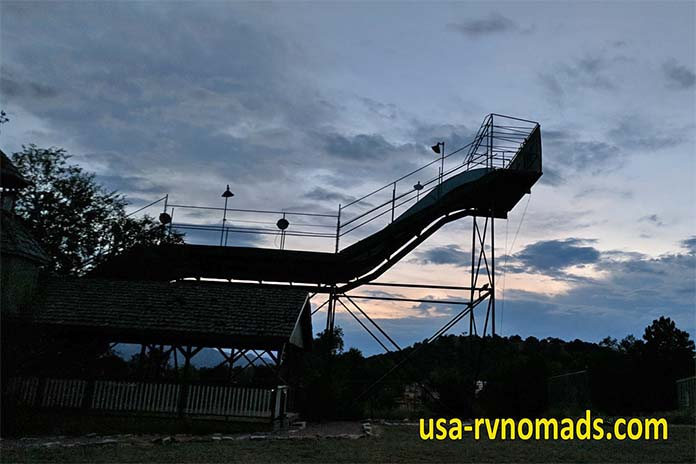 The KOA's big slide at night.