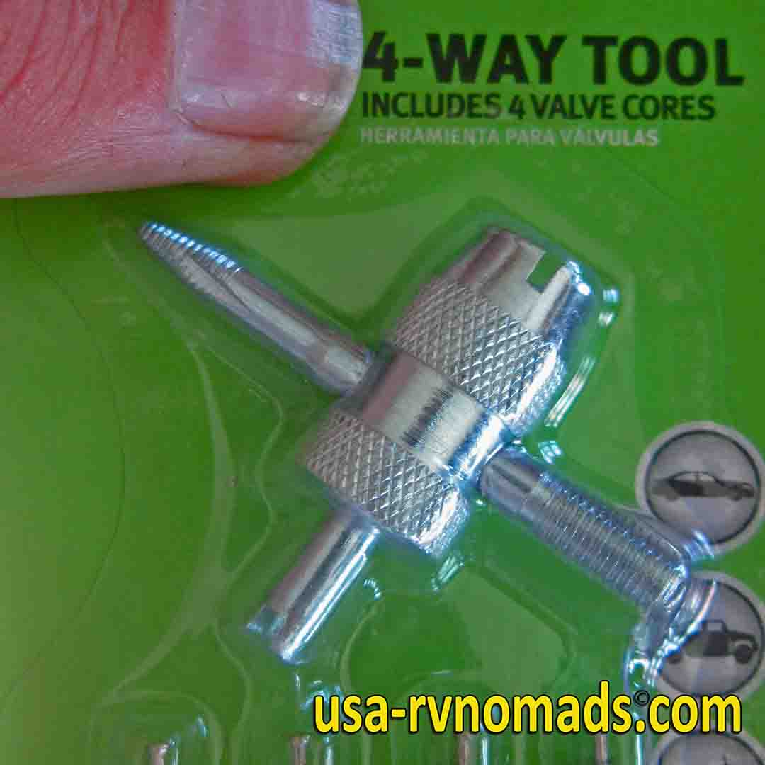 An RV tire pressure tip: An inexpensive, readily available tool keeps your valve stems tight.