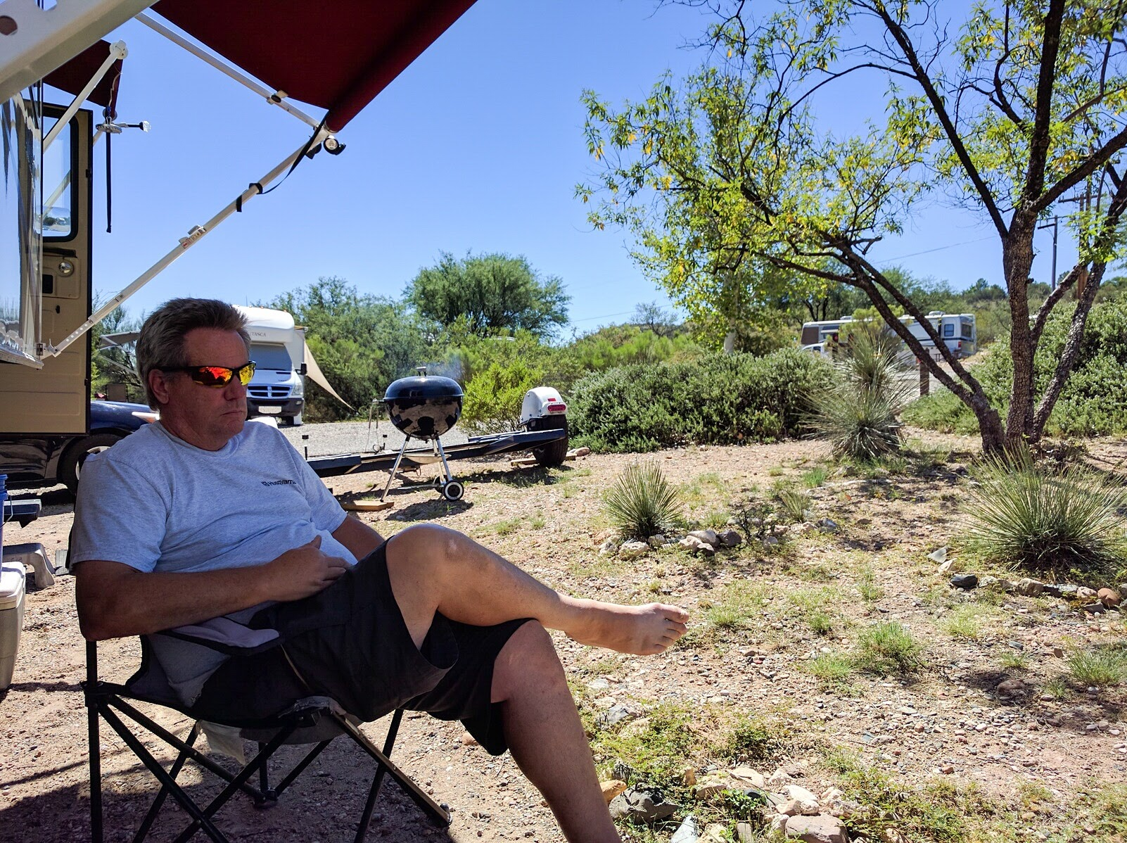 Relaxing the shade at Thousand Trails Verde Valley.