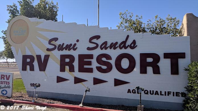 Entrance Sign at Suni Sands RV Resort.