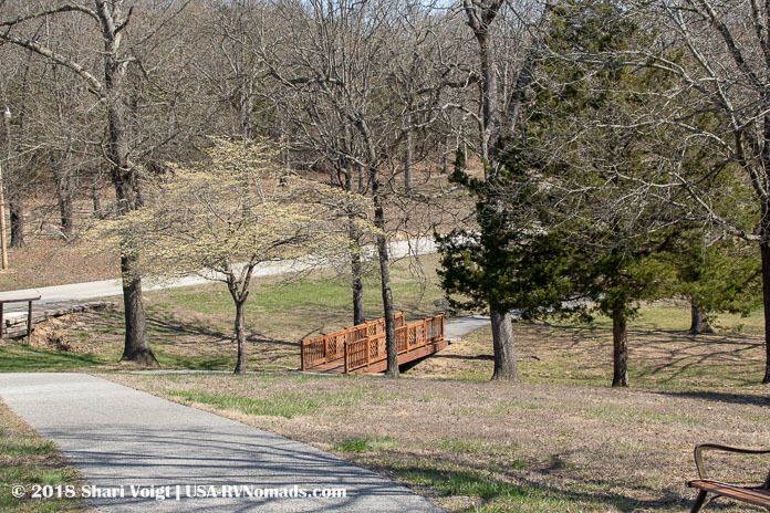 The main walking trail through Treasure Lake RV Resort in Branson, Missouri.