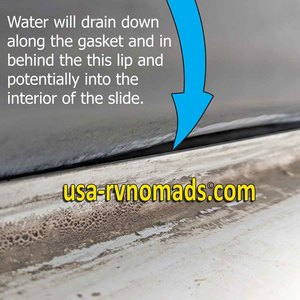 RV slide leaking because the slide seal is leaving a gap.