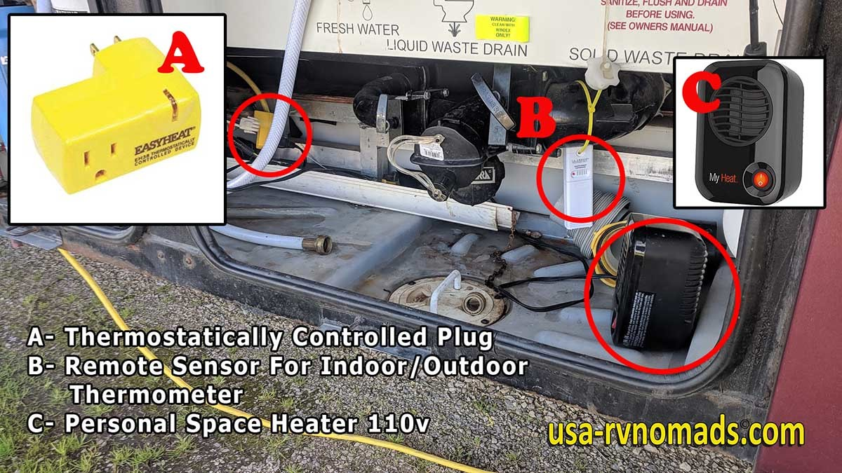 Diagram of our improvised RV wet bay heater system.
