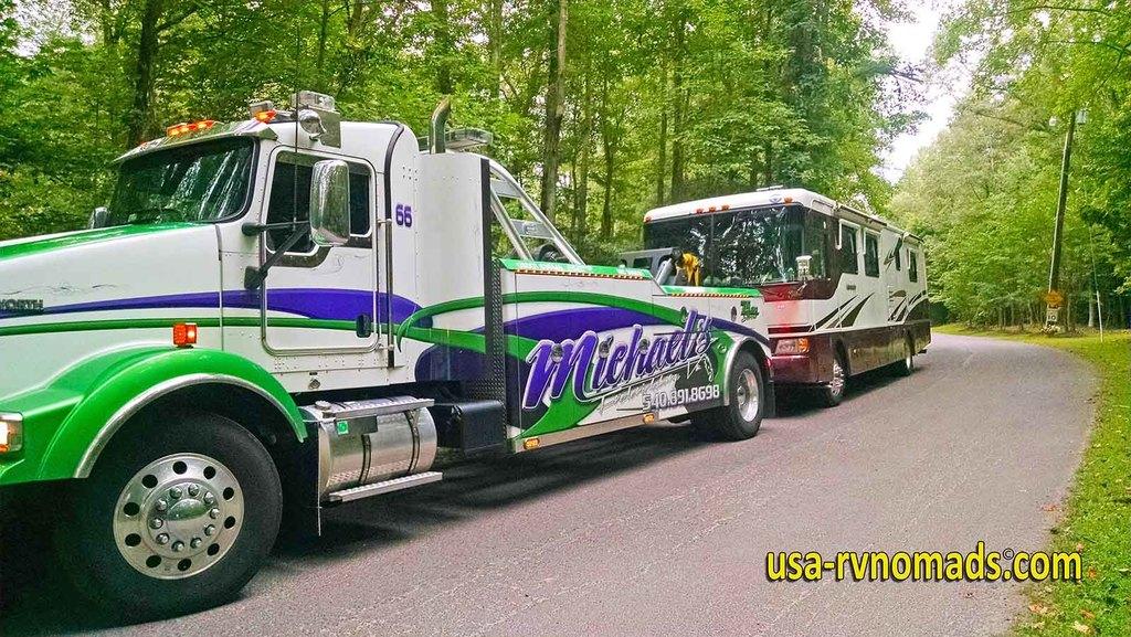 Motorhome being towed.